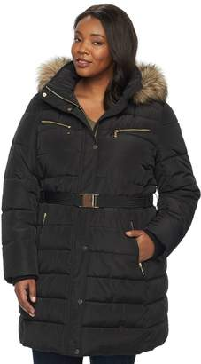 Apt. 9 Plus Size Hooded Faux-Fur Trim Puffer Jacket