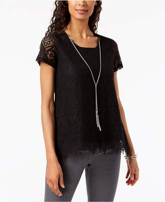 JM Collection Petite Lace Swing Necklace Top, Created for Macy's