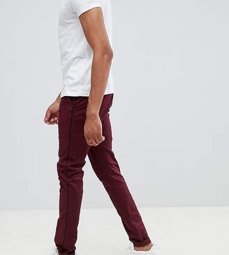 Asos Design DESIGN Tall skinny pants in burgundy with black side piping
