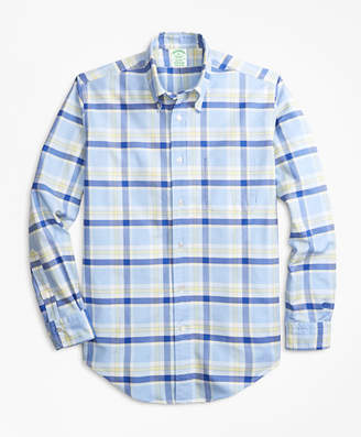 Brooks Brothers Milano Fit Oxford Blue and Yellow Plaid Sport Shirt