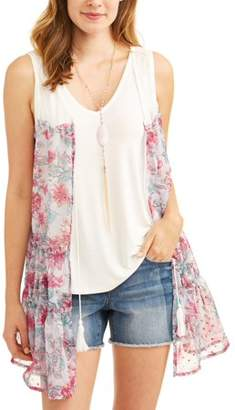 Truself Women's 2fer Vest with Tank and Necklace