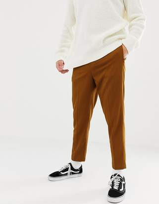 Asos Design DESIGN tapered crop smart trouser with pleats in camel