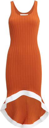 Esteban Cortazar Rust Ribbed Knit Contrast Trim Dress
