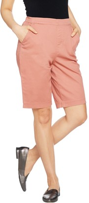 """Denim & Co. How Timeless"""" Stretch Flat Front Jean Shorts"""