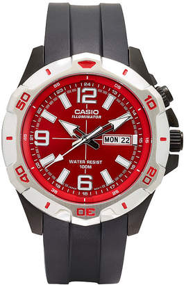 G-Shock G SHOCK Casio Mens Black and Red LED Strap Watch MTD1082-4AV