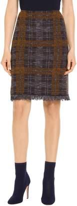 St. John Plaid Boucle Jacquard Knit Skirt