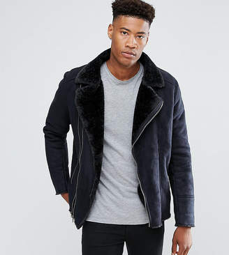 Barney's Originals TALL Faux Shearling Biker Jacket