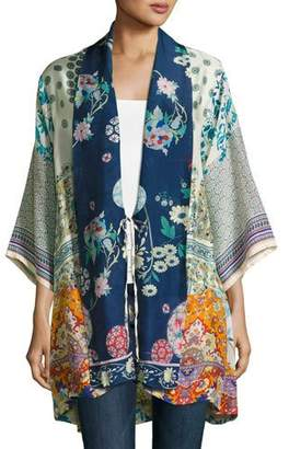 Johnny Was Mixed-Print Twill Kimono Jacket