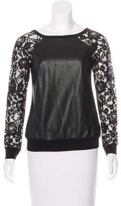 Bailey 44 Faux Leather Lace Top