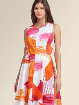 DKNY Sleeveless Paint Stroke Trapeze Dress
