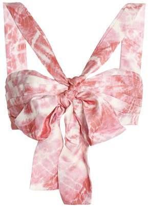Zimmermann Winsome Bow-Embellished Tie-Dye Twill Bra Top