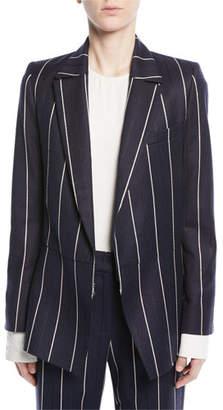 Oscar de la Renta Open-Front Long-Sleeve Pinstripe Wool-Blend Blazer