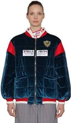 Stella Jean Logo Oversized Velvet Bomber Jacket