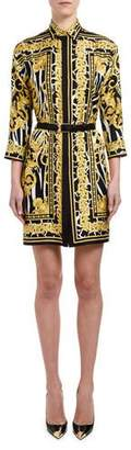 Versace Brocade-Print Silk Shirtdress