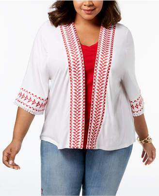 Style&Co. Style & Co Plus Size Embroidered Fringed Kimono, Created for Macy's