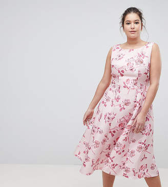Asos Chi Chi London Plus Fit and Flare Midi Dress with Seam Detail in Floral Print