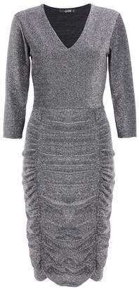 Quiz Silver 3/4 Sleeves Ruched Midi Dress