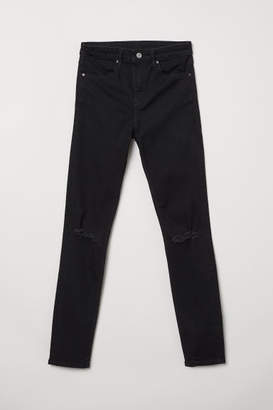 H&M Skinny Regular Ripped Jeans - Black