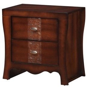 Picket House Furnishings Home Source Jenny Dark Walnut 2 Drawer Nighstand with Chrome Knobs