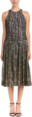 Haute Hippie Lace Paneled Silk-Trim Midi Dress