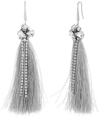Catherine Malandrino Women White Rhinestone Silver-Tone Gray Tassel Earrings