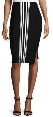 St. John Collection Striped Intarsia Pencil Skirt, Caviar/Bianco $495 thestylecure.com