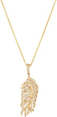 Sydney Evan 14k Diamond Feather Pendant Necklace