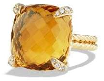 David Yurman Chatelaine Ring With Citrine And Diamonds In 18K Gold,