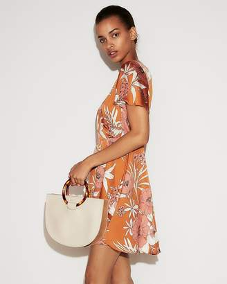 Express Floral Satin Fit And Flare Mini Dress