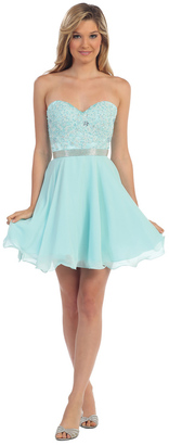 Dancing Queen - Short Strapless Sweetheart Dress with Lace Bodice 9184 $86 thestylecure.com