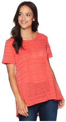 Nally & Millie Short Sleeve Sheer Stripe Tunic with Back Pleat Women's Blouse