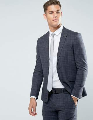 Burton Menswear Slim Fit Suit Jacket In Grey Check