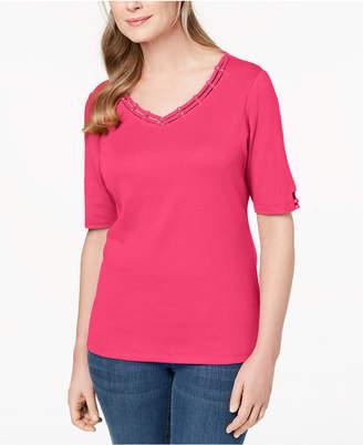Karen Scott Cotton Embellished Cutout T-Shirt