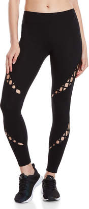 Andrew Marc Black Laced Cutout Leggings