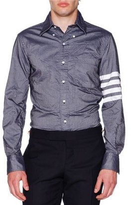 Thom Browne Crinkled Chambray Striped-Sleeve Shirt, Dark Blue $570 thestylecure.com