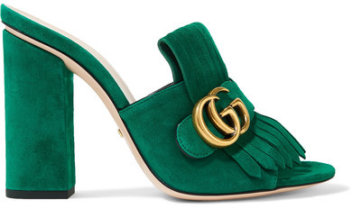 Gucci - Marmont Fringed Suede Mules - Bright green