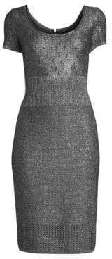 St. John Metallic Plaited Mixed Knit Dress