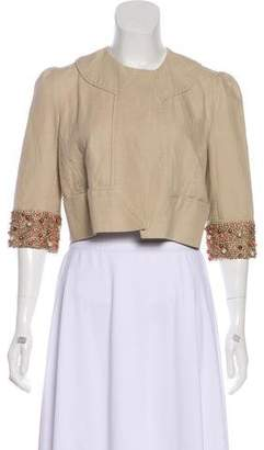 Diane von Furstenberg Embellished Linen Jacket