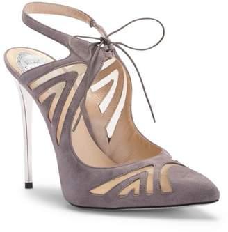 Rene Caovilla Laser-cut Ghille Lace-Up Stiletto Sandal