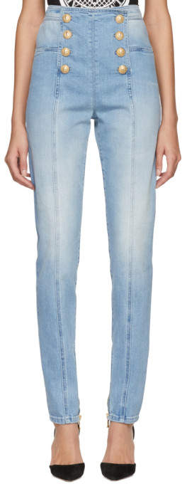 Blue Eight-button Skinny Jeans