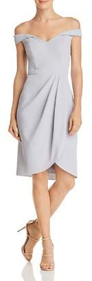 Aqua Off-the-Shoulder Pleat-Detail Dress - 100% Exclusive