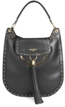 Balmain Domaine 33 Glovetanned Leather Hobo Bag