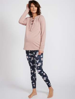 Beyond The Bump Fold Over Belly Floral Print Maternity Leggings