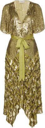 Temperley London Akiko Sequin Embroidered Chiffon Dress