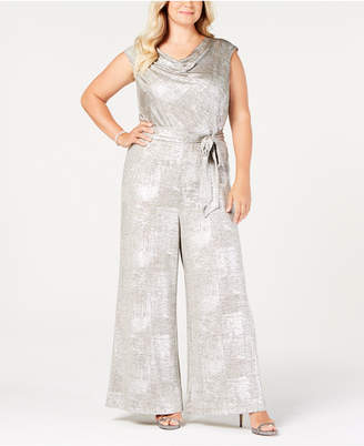 Connected Plus Size Metallic Cowl-Neck Jumpsuit