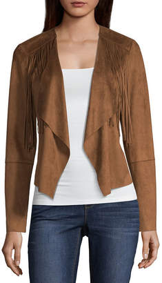 A.N.A Fringe Suede Jacket Faux Suede Midweight Motorcycle Jacket