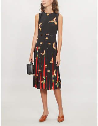 Diane von Furstenberg Bird-print silk-crepe midi dress