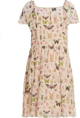 RED Valentino Bug-print ruffle-trimmed silk-chiffon dress