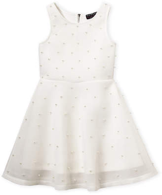 Hannah Banana Girls 7-16) Mesh Faux Pearl Fit & Flare Dress