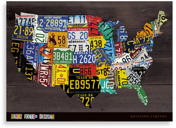 Aaron Foster Wall Art - License Plate Map
